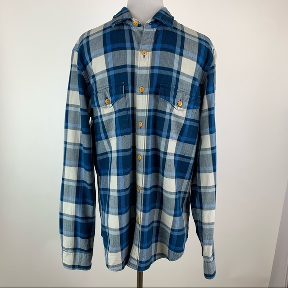 J. Crew Men's Blue Plaid Button Down Shirt Medium